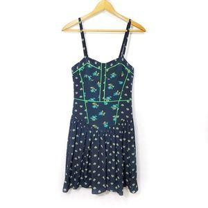 Rebecca Taylor navy 100% silk floral print dress 4